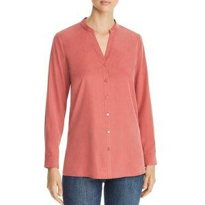 Eileen Fisher Womens Blouse Stand Collar Size XS